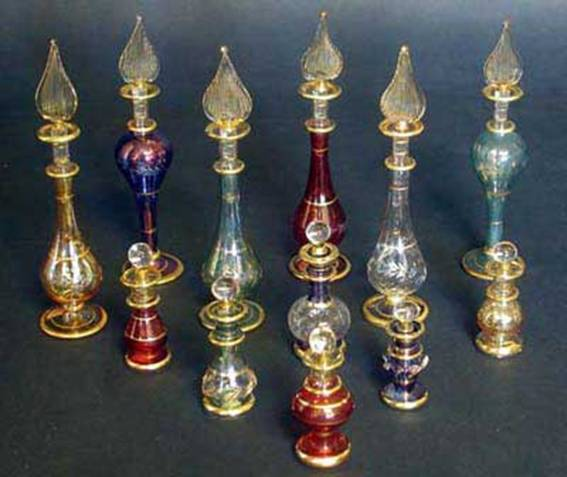 Group of 6 Extra Small and 6 Small Perfume Bottles